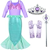 Girls Little Mermaid Costume Princess Dress Up For Birthday with Accessories(Crown+Wand) 3-10 Years