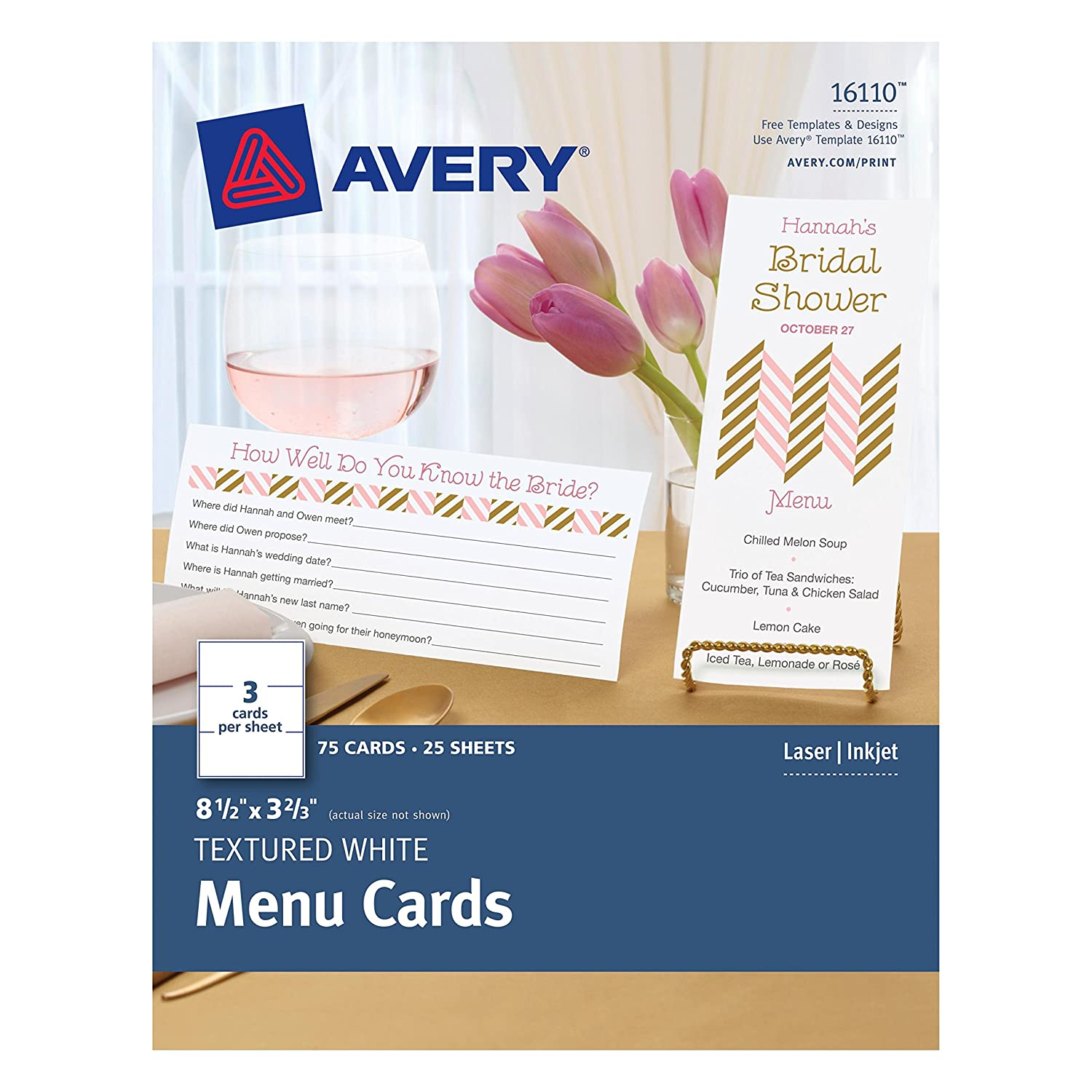 Amazon Avery Textured White Menu Cards 85 X 366 Inches