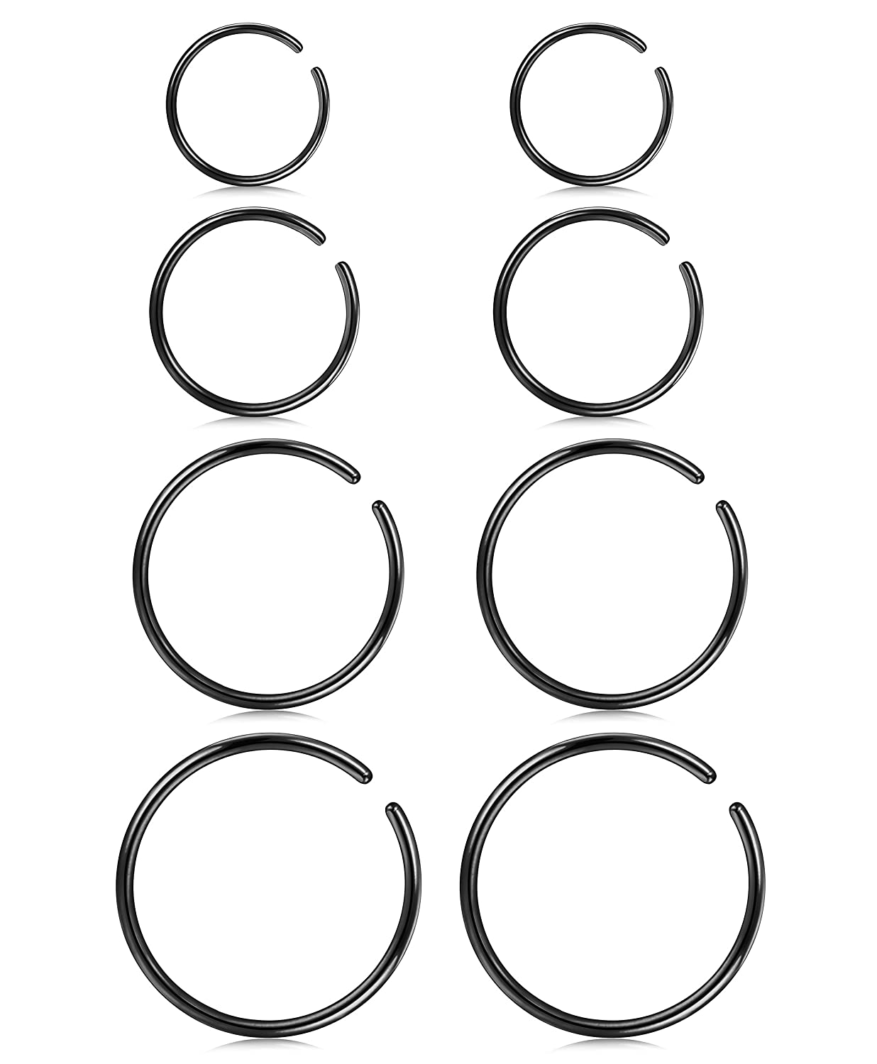 LOYALLOOK 4 Pairs Stainless Steel Clip on Fake Nose Lip Helix Cartilage Tragus Ear Hoop Ring 20G 6mm/8mm/10mm/12mm DGP0002-S