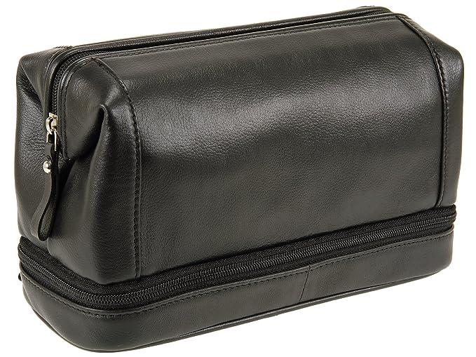 Primehide Mens Bottom Zip Top Frame Leather Wash Toiletry Bag 79aaf15c4e413