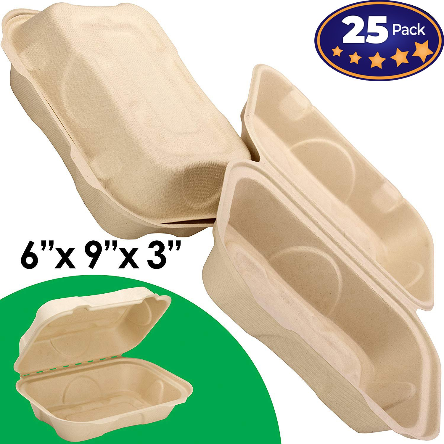 Biodegradable 6x9 Take Out Food Containers with Clamshell Hinged Lid 25 Pack. Microwaveable, Disposable Takeout Box to Carry Meals ToGo. Great for Restaurant Carryout or Party Take Home Boxes