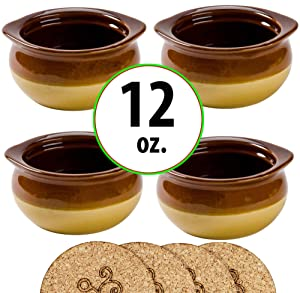 Premium Porcelain 12 Ounce Onion Soup Bowls - Brown and Ivory Classic European Style - Set of 4 Crocks with Cork Coasters – Oven- Microwave- Dishwasher safe