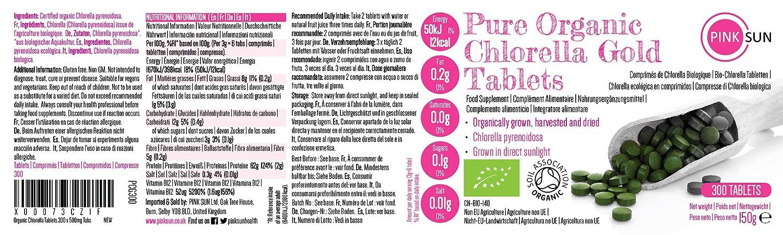 PINK SUN Chlorella Ecológica Comprimidos 300 x 500mg (o 1000 Tabletas) Pyrenoidosa Orgánica Pared Celular Rota Pastillas Alga Pura Vegano No OGM 100% ...
