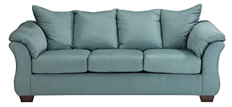 Ashley Furniture Signature Design - Darcy Sofa - 3 Seats - Ultra Soft Upholstery - Contemporary - Sky
