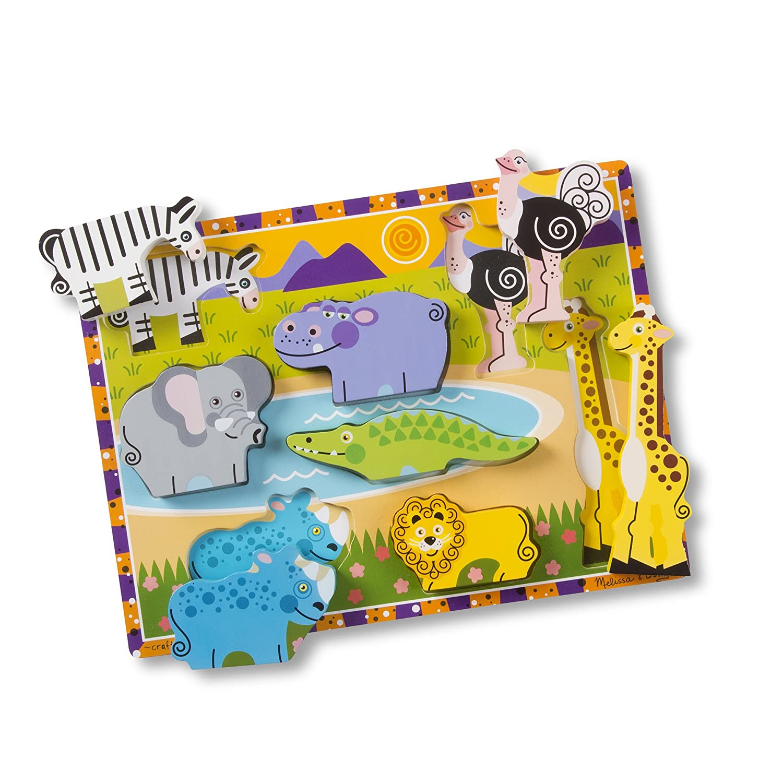 8 Pcs Safari Sea Creatures 7 Pcs Melissa /& Doug Wooden Chunky Puzzle 2 Pack