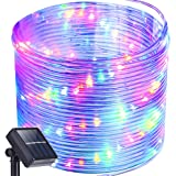 Solar Rope Lights,Oak Leaf 41ft Waterproof 100 LED Outdoor Decoration String Lights with PVC Tube Cover,Black,Yellow, Green,Blue and Purple
