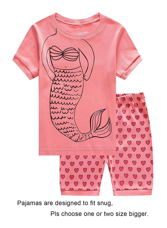 ChocoMoon Girls Pajamas Shorts Mermaid Pjs Summer