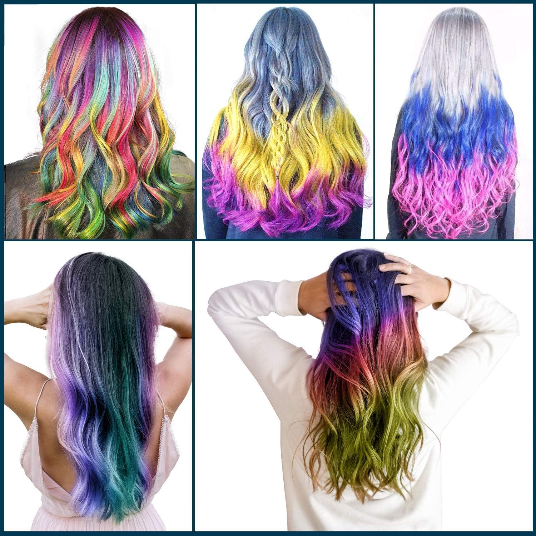 Pelo tiza, 12 Color poliproileno Bar pelo Tiza temporales de color del pelo Non Toxic Hair Chalk Bolígrafos, 6 Par de Guantes para niños, carnaval, ...