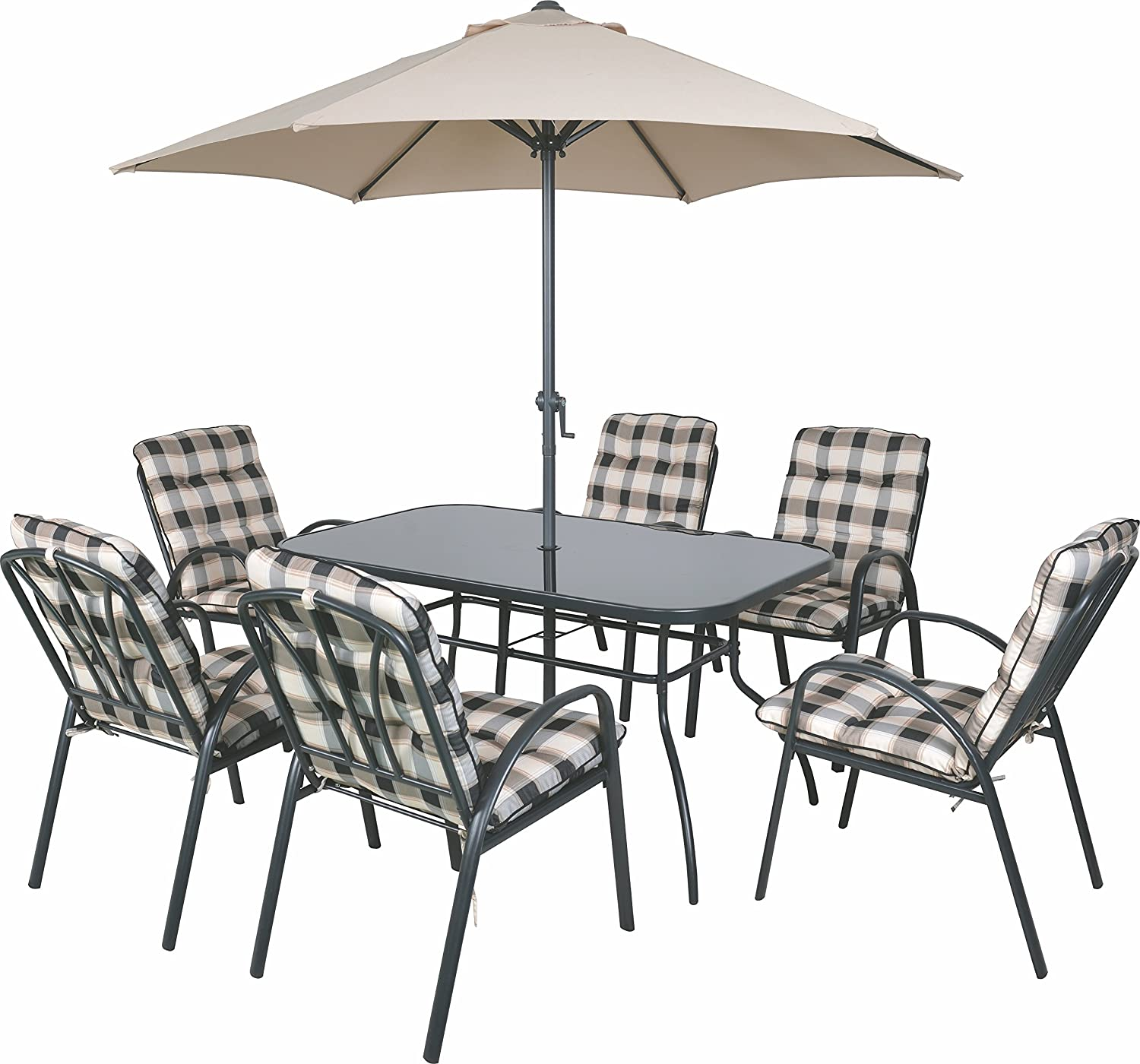 8 Seater Outdoor Garden Furniture Table Chairs & Parasol Dining Set  Cushioned