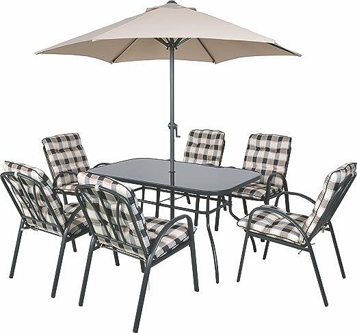 6 plazas al Aire Libre Muebles de jardín Mesa sillas y sombrilla Juego de Utensilios para Comer Acolchada: Amazon.es: Jardín