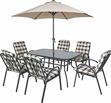 6 seater outdoor garden furniture table chairs parasol dining set cushioned