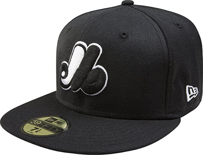 New Era 59Fifty Hat MLB Montreal Expos Cooperstown Black with White Fitted  Cap (8 1 cac937b9f6e3