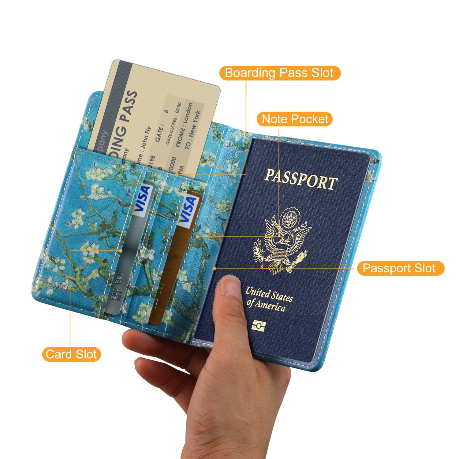 Boarding Passes,02 Apricot Credit Cards Securely Holds Passport Premium Vegan Leather RFID Blocking Case Cover Anvas Passport Holder Travel Wallet Business Cards