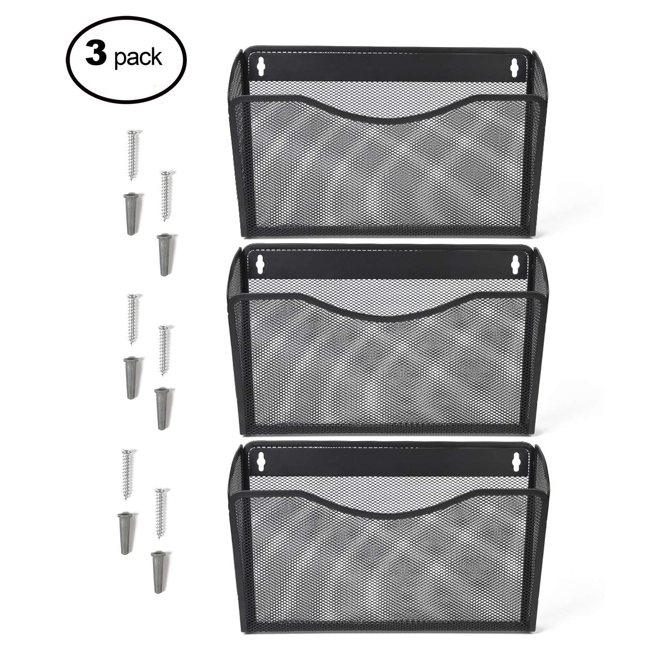 Kinwell 3 Pack Office Hanging Mesh Letter-Size Wall File Holder Organizer Single Vertical Collection Pocket Set Multi-Purpose Organizer Display Magazines Mail Sorter & Magazine Rack (Black)