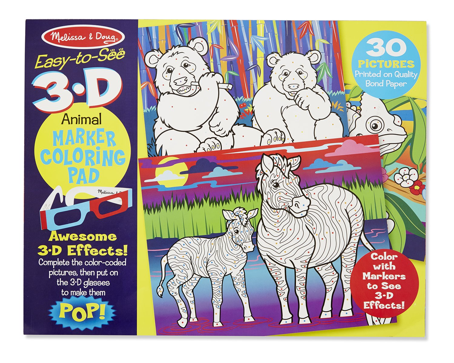 amazon com melissa u0026 doug easy to see 3 d coloring pad animals