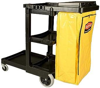 Rubbermaid 861074 - Carro de limpieza, con capacidad de 128 l, negro