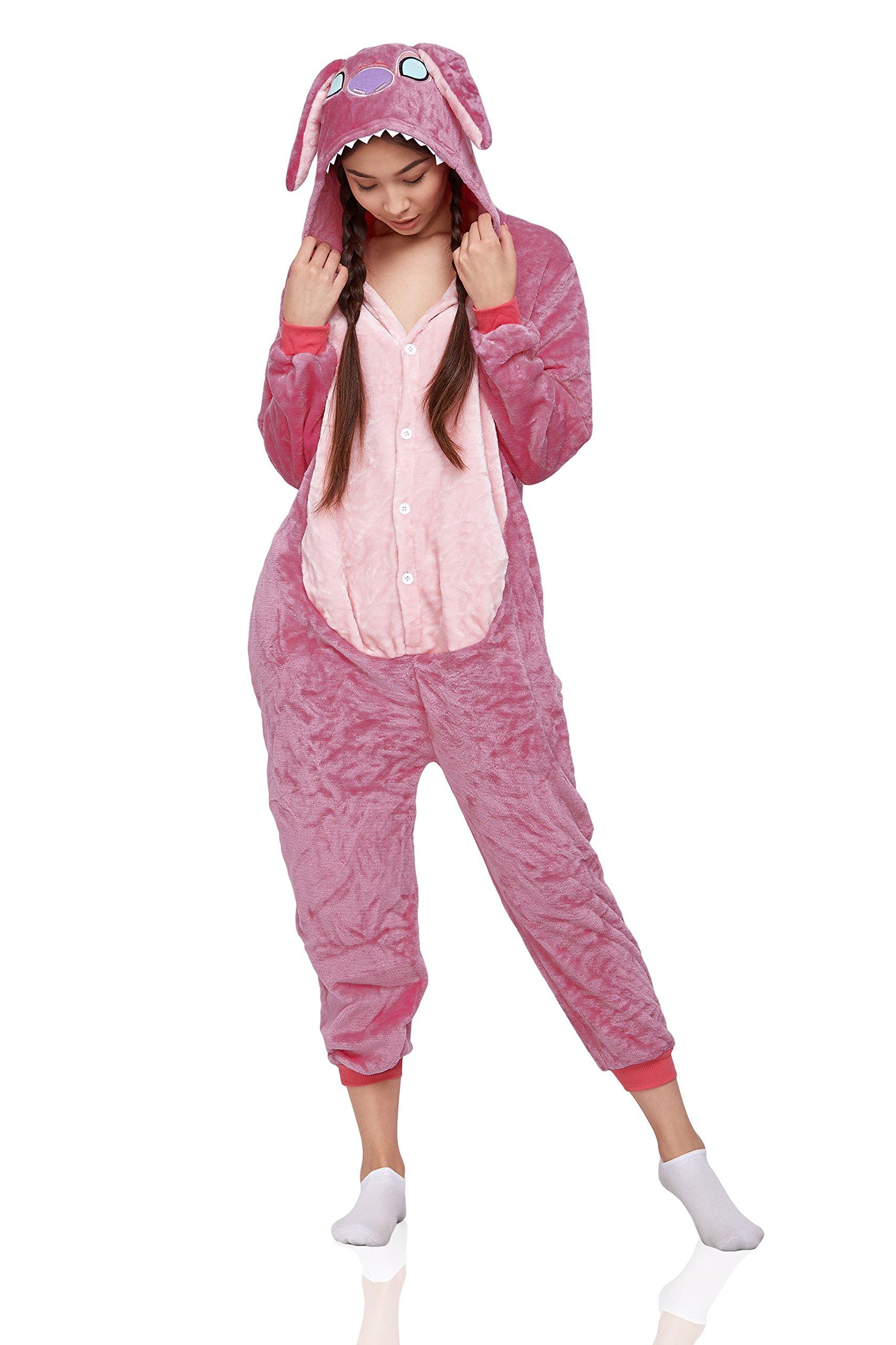 Nothing But Love Adult Cute Monster Alien Kigurumi Onesie Pajamas Plush Onsie One Piece Costume (Large, Pink)