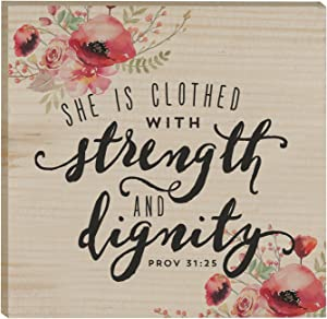 She Is Clothed With Strength & Dignity Poppies 3 x 3 Inch Solid Pine Wood Rustic Magnet