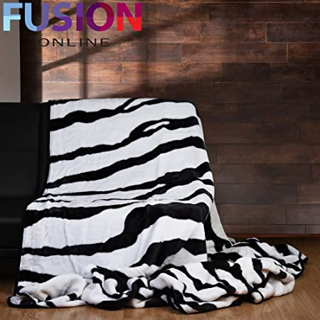 KING 40x40cm LUXURY ZEBRA ANIMAL PRINT MINK THROW SOFT FUR WARM Amazing Zebra Print Electric Throw Blanket