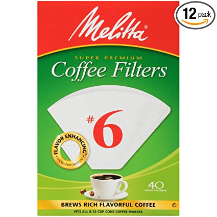 Melitta #6 Super Premium Cone Coffee Filters, White, 40 Count (Pack of 12)