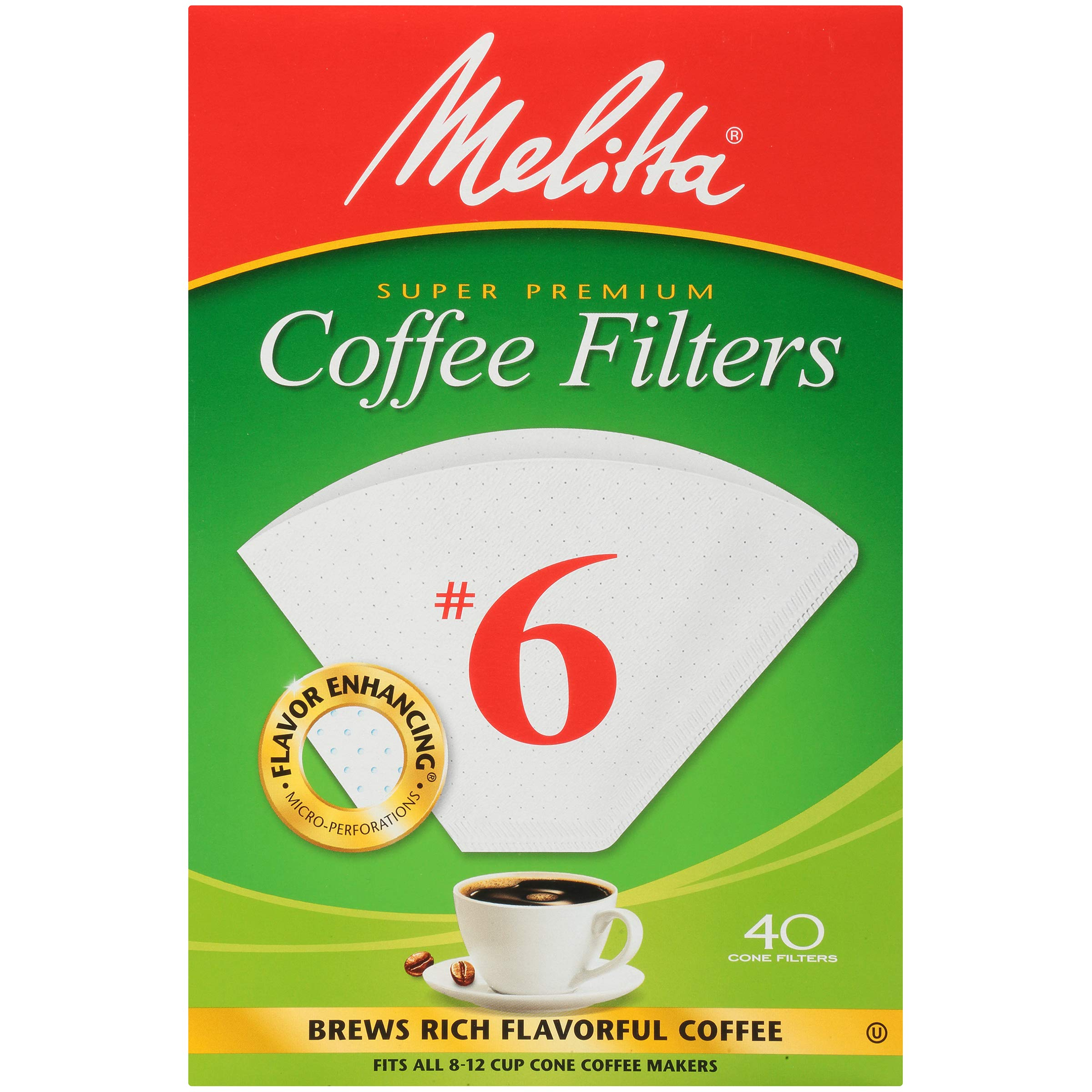 Melitta (626402C) #6 Super Premium Cone Coffee Filters, White, 40 Count (Pack of 12) Replacement Coffee Maker Filters