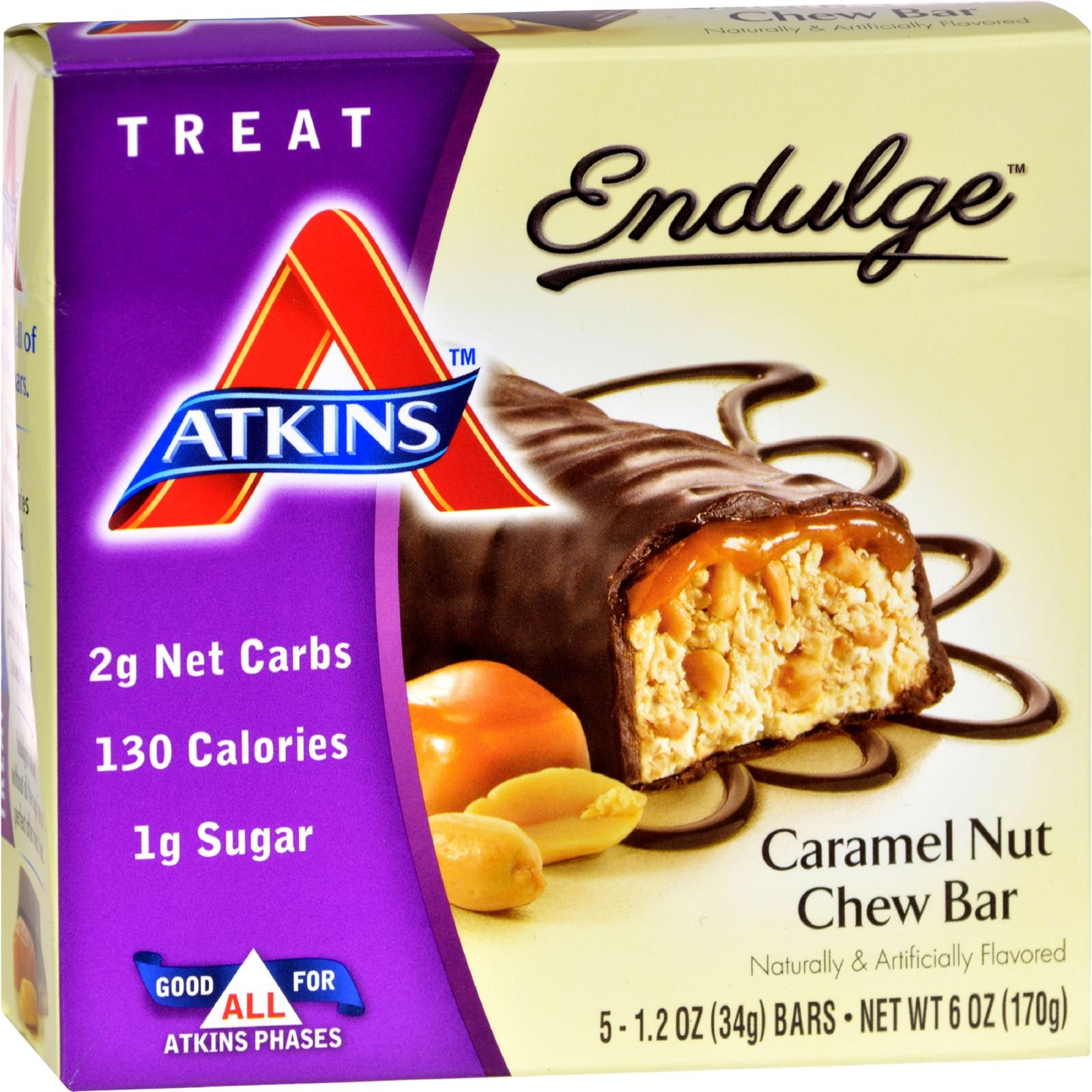 Atkins Endulge Bar Caramel Nut Chew - 5 Bars (Pack of 4)