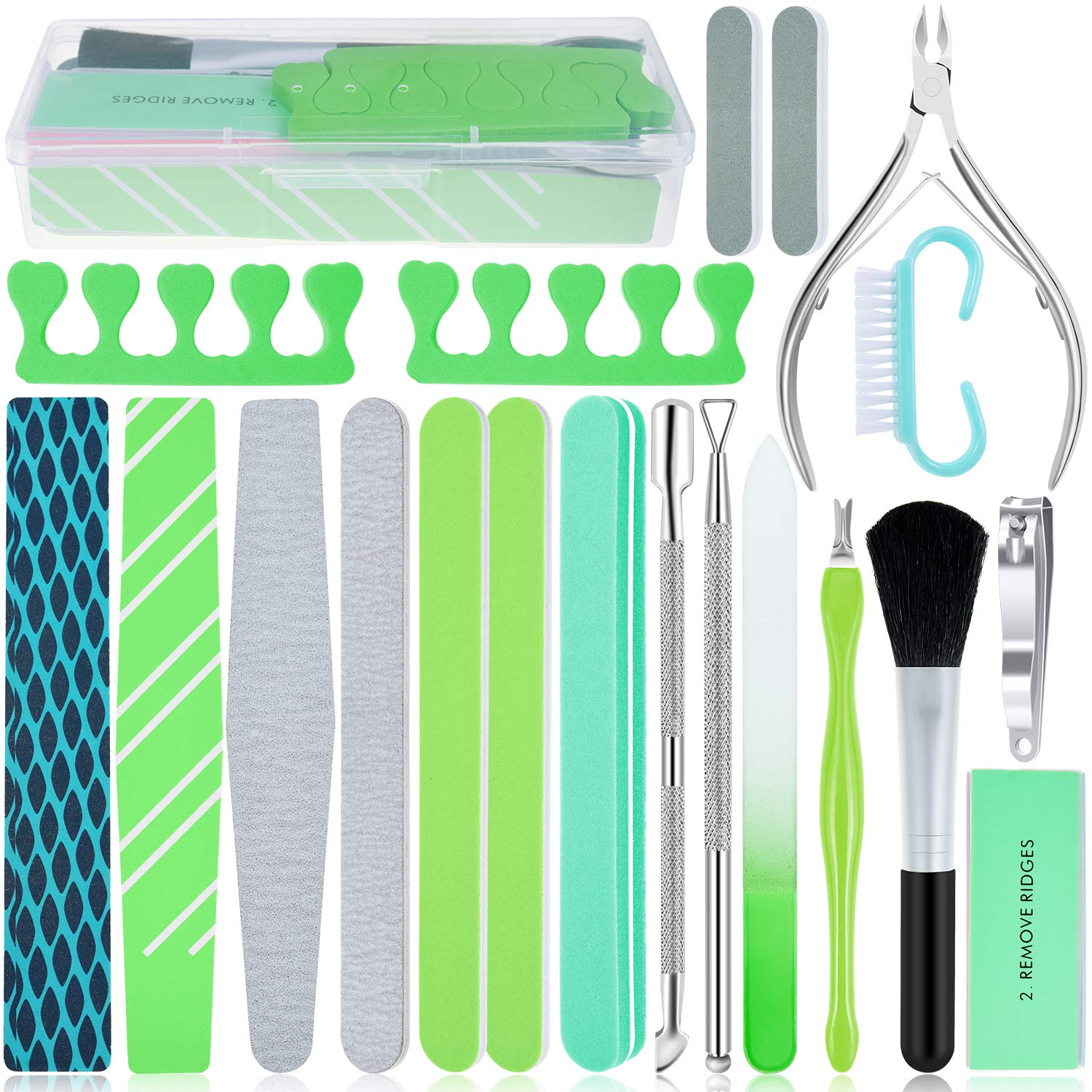 20 in 1 Nail File Set, EAONE Professional Manicure Kit Pedicure Tools Nail Art Tools with Nail Files and Buffers Cuticle Nipper Cuticle Pusher Nail Cutter for Hand and Foot Nail Salon, Case Packaged: Beauty