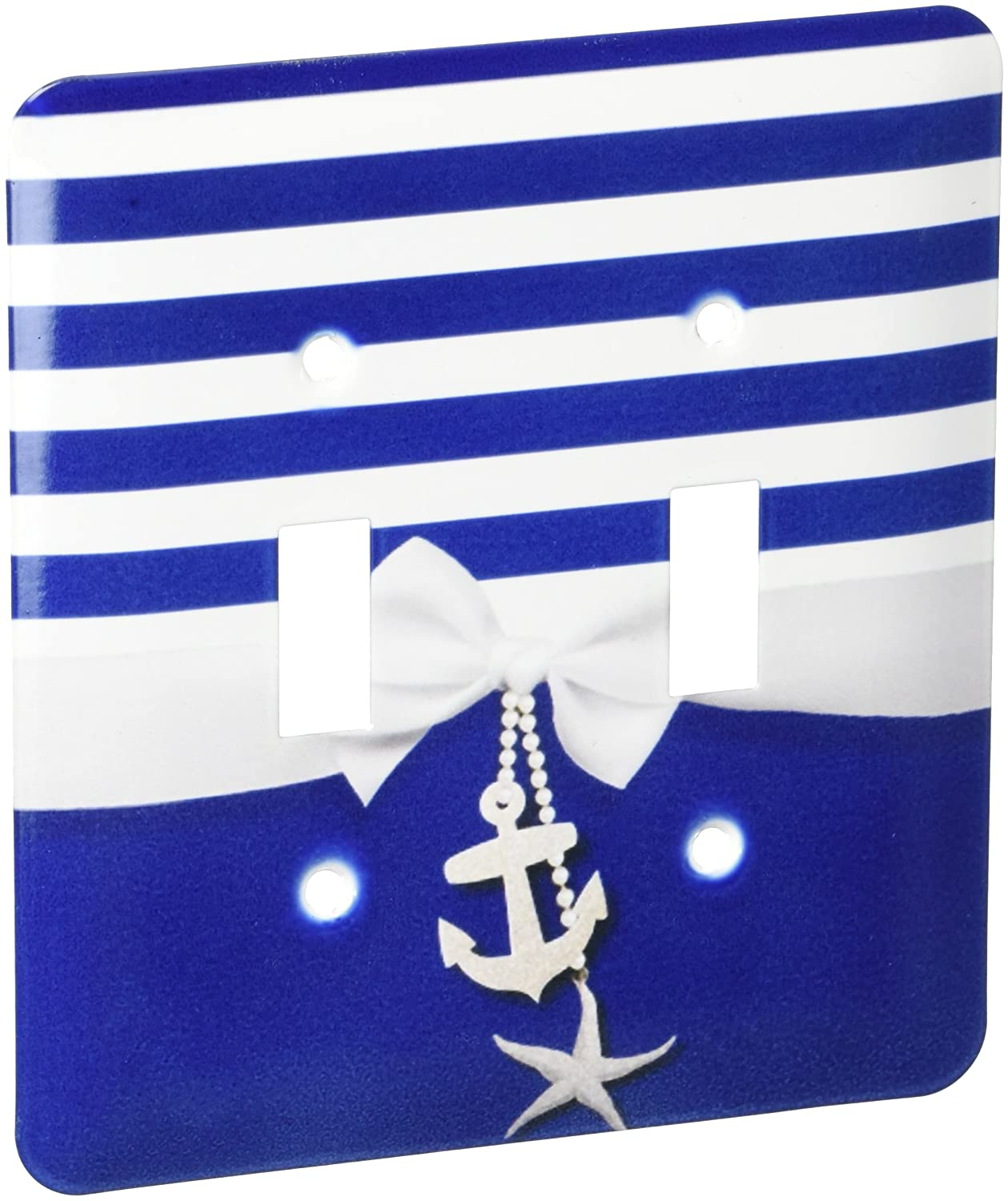 3dRose lsp_151234_2 Nautical Navy Blue and White Stripes 2D Ribbon Bow Graphic and Printed Anchor and Starfish Charms Double Toggle Switch