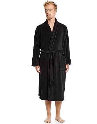 Leveret Mens Robe Soft Micro Fleece Plush Shawl Collar Bathrobe Robe ... 5ba90a4a5