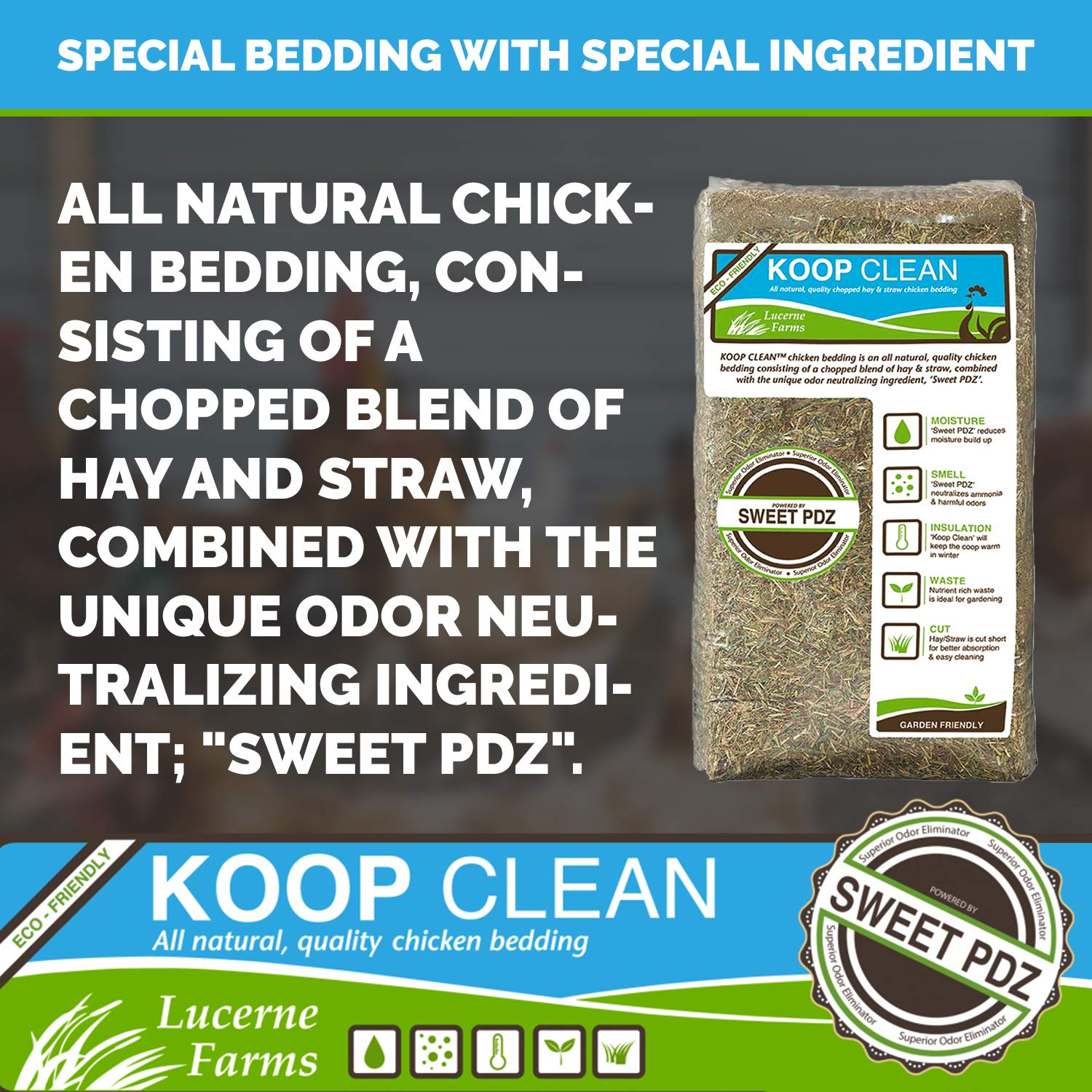 Lucerne Farms, Inc. Koop Clean Chicken Bedding- Neutralizes & Eliminates Harmful Ammonia, Nutrient-Rich, Easier, Better Clean Up, 2.4 Cubic Feet