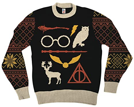 Harry Potter Owl Deathly Hallows Sign Black Ugly Christmas Sweater (Adult  Small)