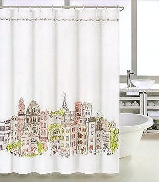 Tahari Fabric Shower Curtain Orange Green Taupe White France Paris Fiffel Tower