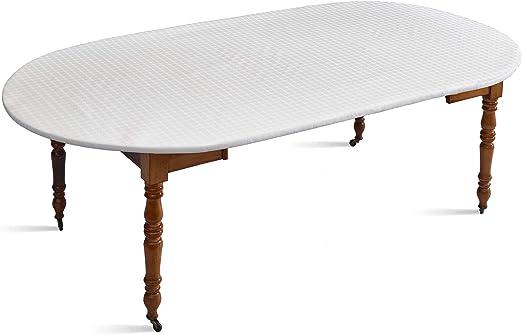 protector de mesa , blanco , para mesa OVAL , todo ELASTICATO ...