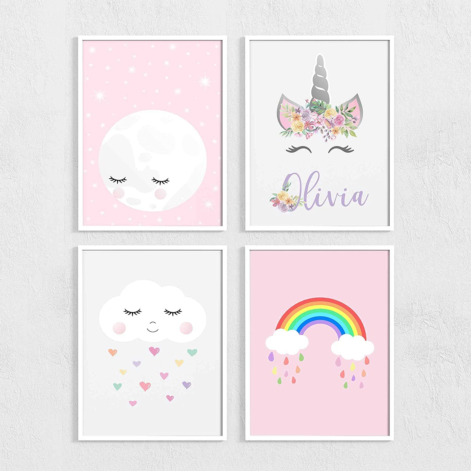 Daughter New Baby Girls Personalised Rainbow Bedroom Wall Art Gift Print Frame