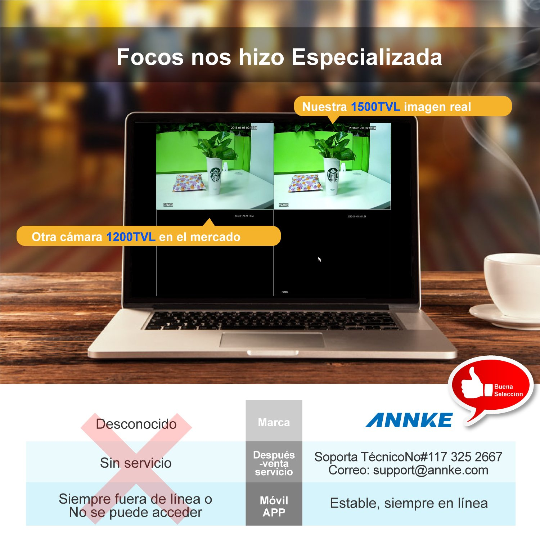 [1280*720P HD] ANNKE Kit de 4 Cámaras de Vigilancia Seguridad (Onvif H.264 CCTV DVR P2P 4CH AHD 720P y 4 Camaras IP 720P 1MP IP66 Impermeable, IR-Cut, ...