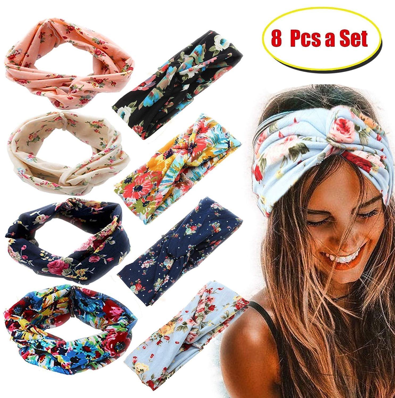 Milacolato 8 Pièces Bandeaux Femmes Filles Large Boho Noué Yoga Tête Wrap Bande De Cheveux