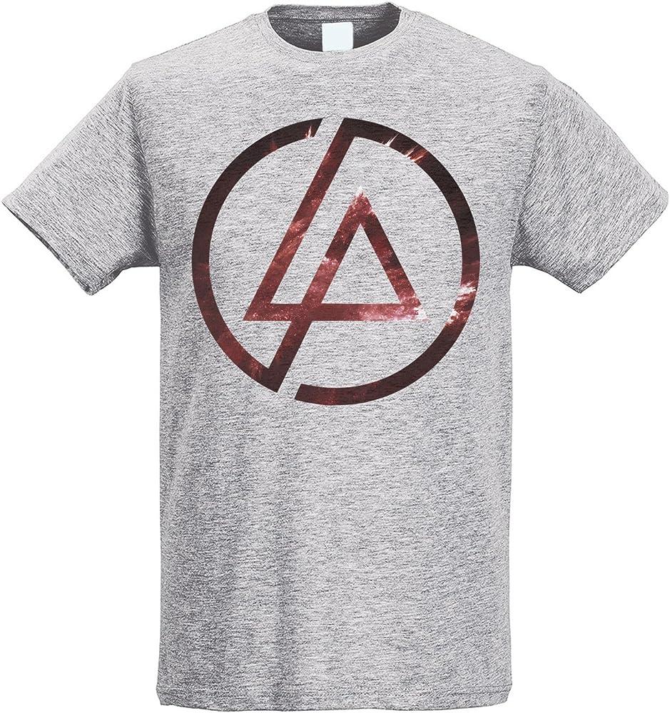 LaMAGLIERIA Camiseta Hombre Slim Linkin Park Texture Logo - Camiseta Rock 100% algodòn Ring Spun, S, Gris: Amazon.es: Ropa y accesorios