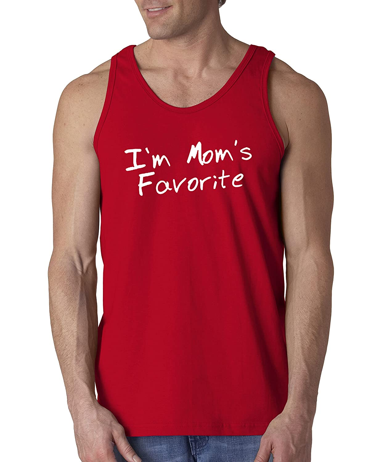 506cec6f7ad19c Amazon.com  New Way 470 - Men s Tank-Top I m Mom s Favorite Daughter Son  Sibling  Clothing