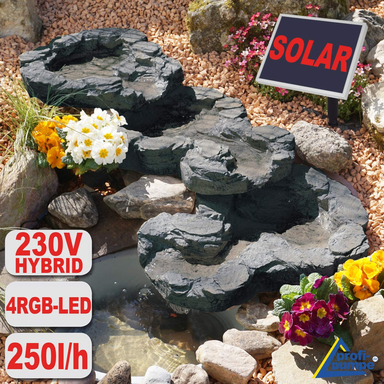 Water Feature Fountain Cascading Bowl Pump Garden Indoor Outdoor Pond With Led