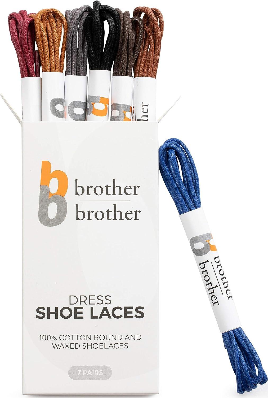 Brother Brother 7 Paires de lacets Lacets de couleur pour chaussures hommes Oxford Lacet chaussure homme
