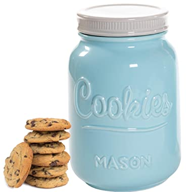 Mason Cookie Jar With Lid - Large Airtight Ceramic Kitchen Canister - Vintage Farmhouse Storage Jars with Lids - Rustic Decorative Air Tight Container For Cookies, Cracker, and Other Snacks (Blue)