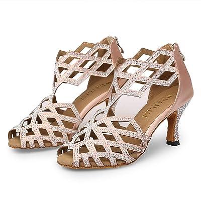 WUAILIM Women's Ballroom Rhinestone Dance Shoes, Latin Salsa Bachata Practice Performance Dancer Shoes   Ballet & Dance