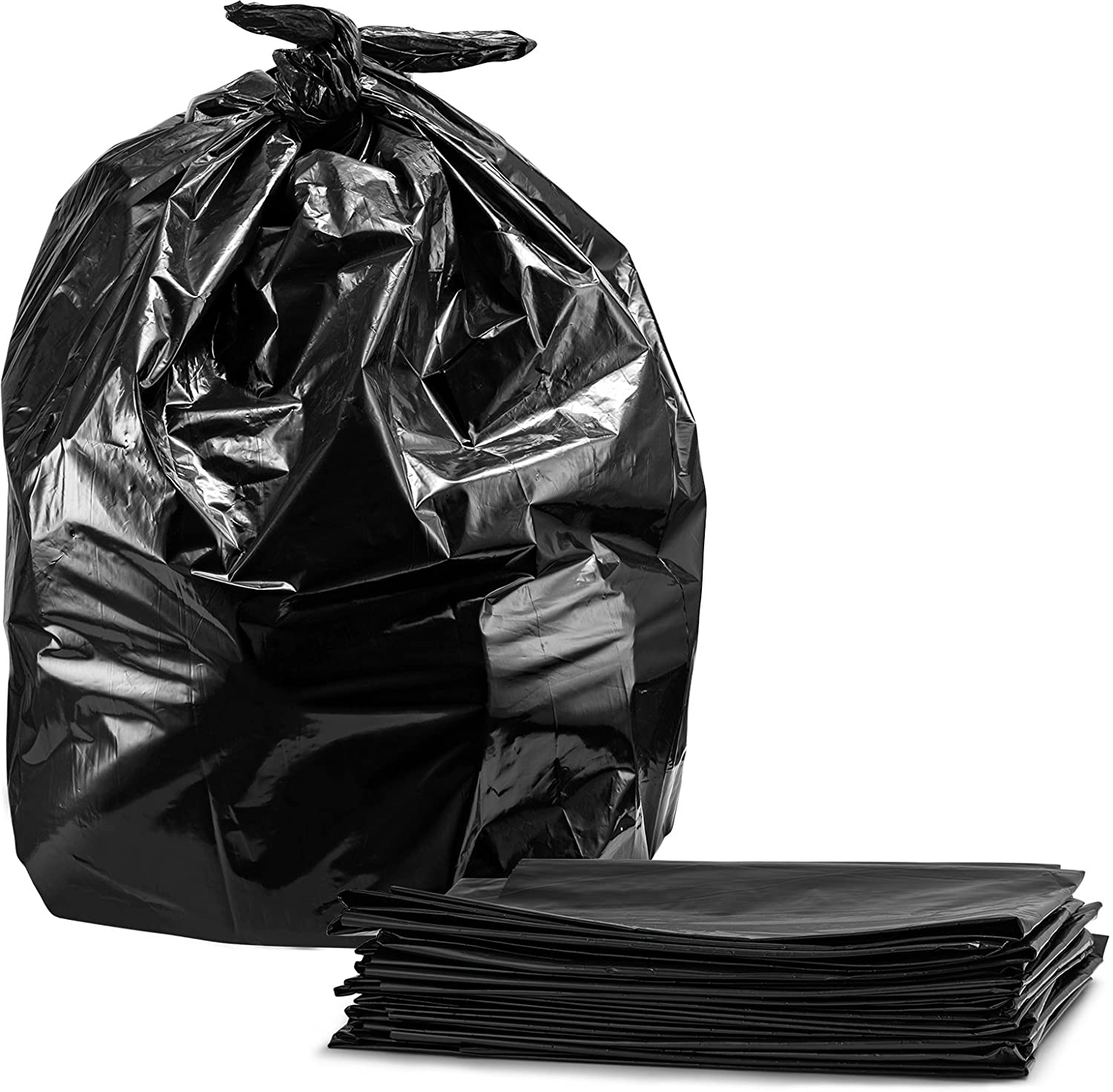 55-60 Gallon Contractor Trash Bags, 3.0 Mil, Large Black Heavy Duty Garbage Bags, (50)