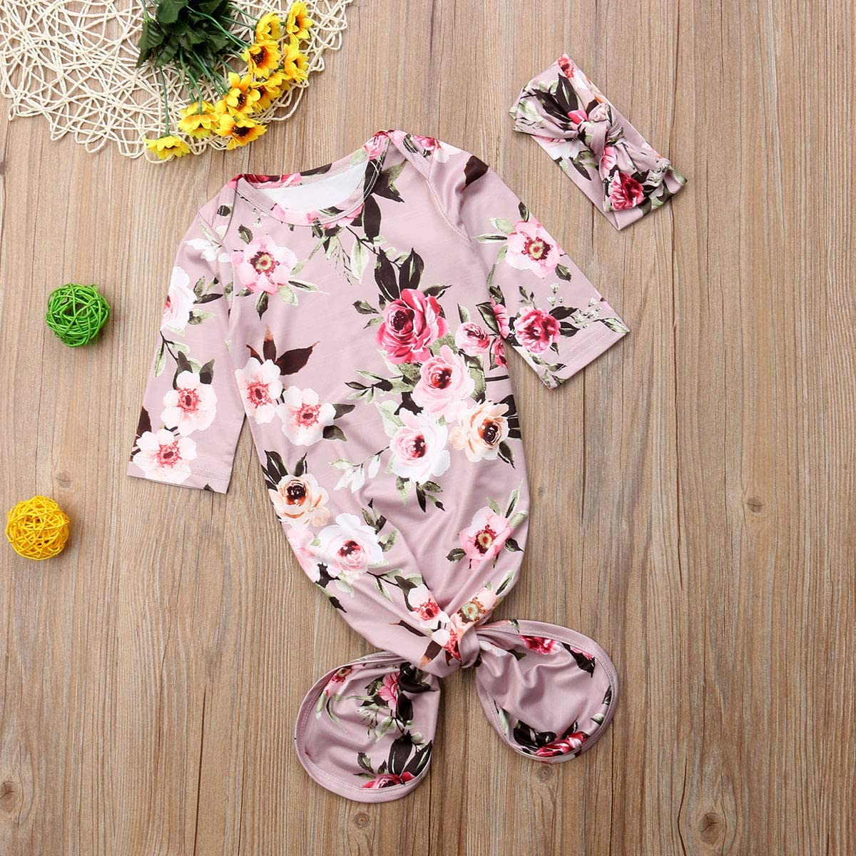 Baby Girls Floral Knotted Sleeper Gown Infant Romper Set Home Outfit with Headband