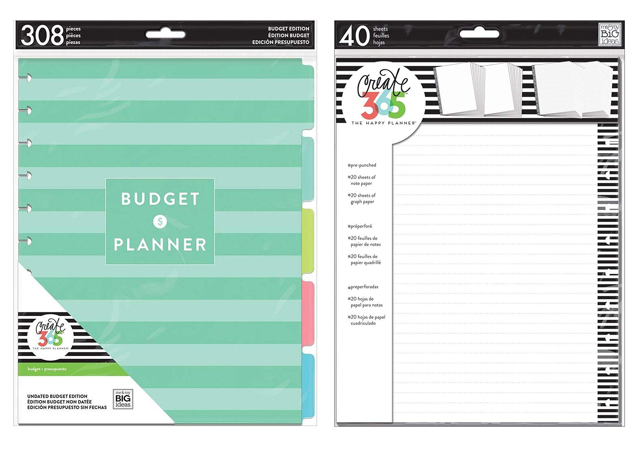 Me & My Big Ideas Create 365 Big Budget Extension and Big Fill Paper MONB-04 & FILB-01 (Fits Big Sized Planners) by MAMBI Bundles
