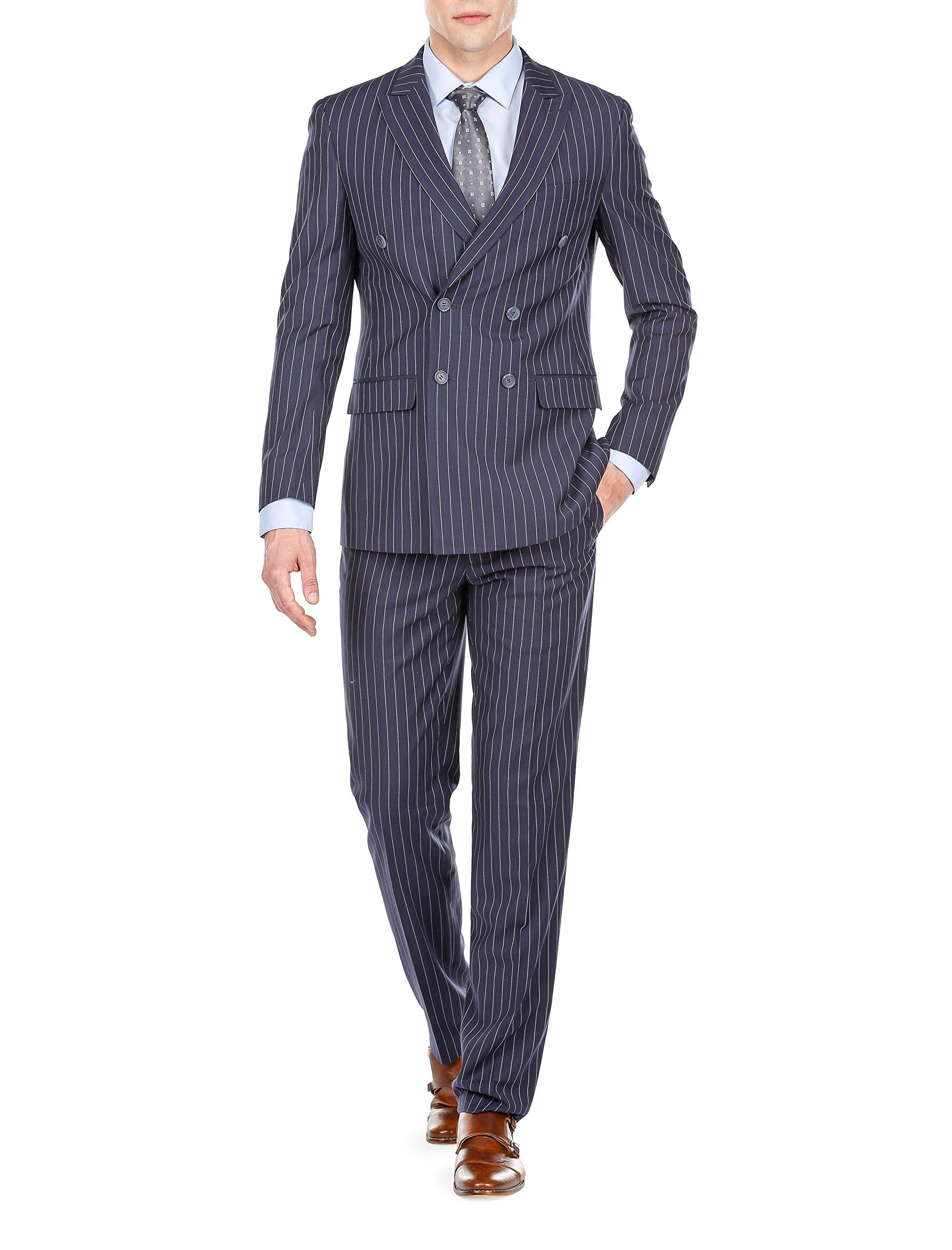 Braveman Men's Slim Fit Bold Stripe Double Breasted Suits, English Blue, Size 44L/38W