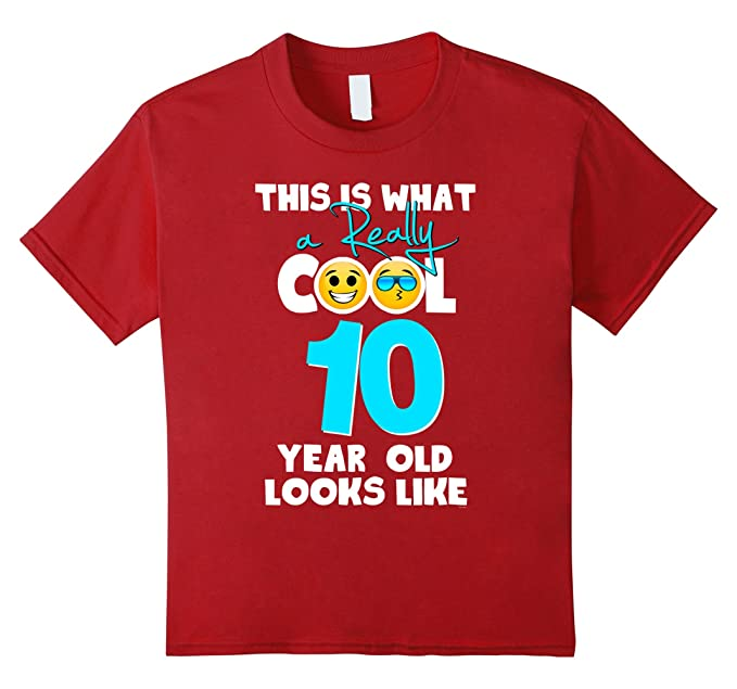 Unisex Child Kids Emojicon 10th Birthday Gifts 10 Year Old Boys T Shirt 4 Cranberry