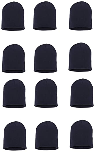 Wholesale 12 PCS Unisex Knit Short Plain Ribbed Beanie Ski Cap Skull Hat  Warm Solid Winter New Blank (Navy) at Amazon Women s Clothing store  b3c856a18b81
