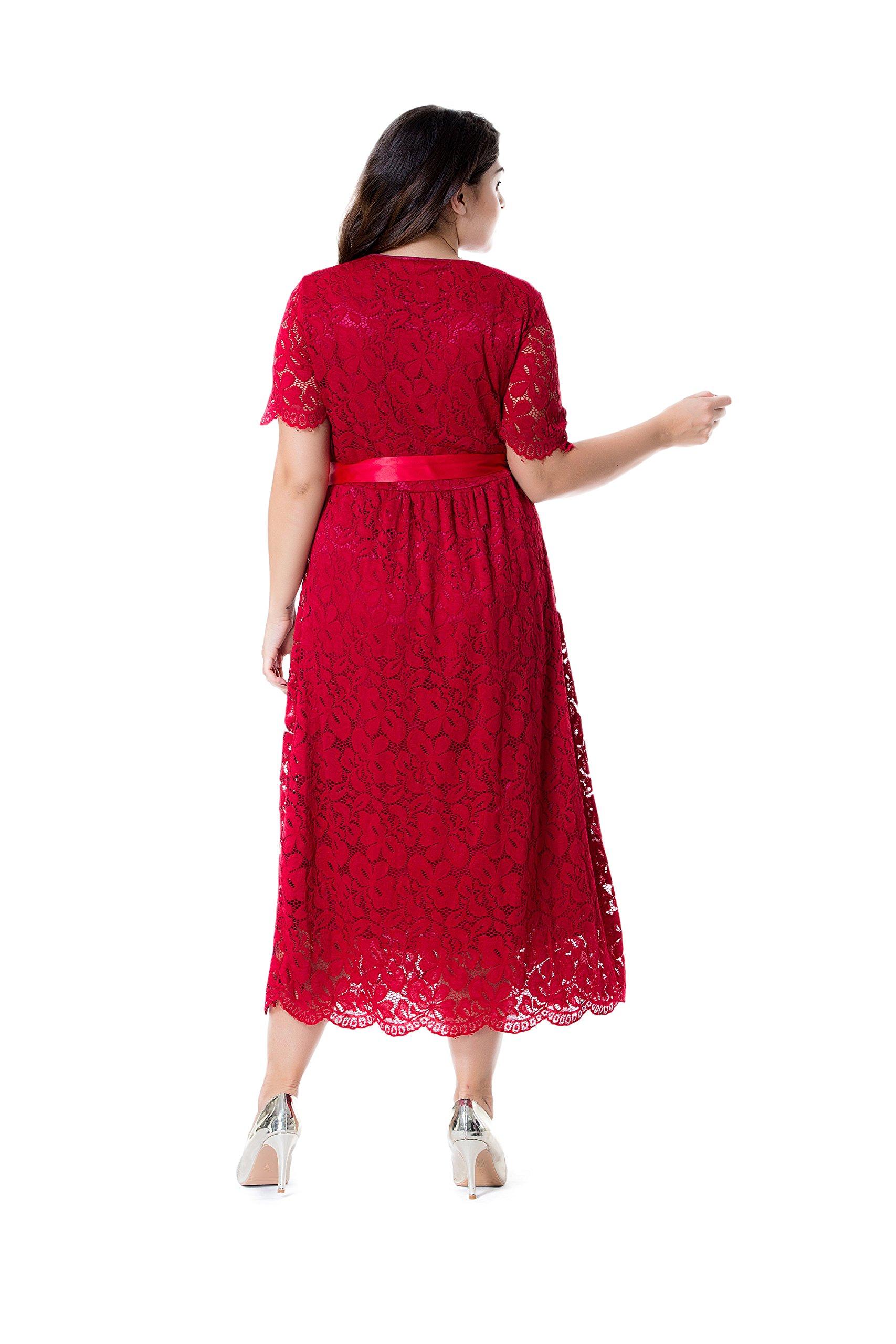 Esprlia Women S Plus Size Double V Neck Lace Dress Fit And