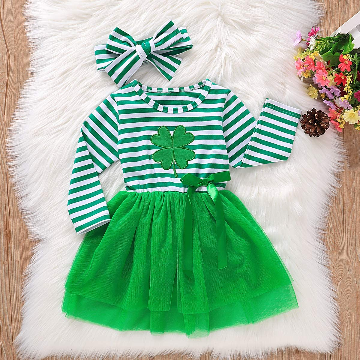 Toddler Girl St Patricks Day Outfits Long Sleeve Clover Dress Headband Toddler Girl St Patricks Day Clothes Set